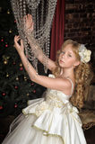Blonde girl in evening dress princess Royalty Free Stock Images