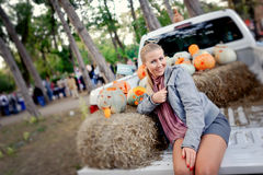 Blonde girl at the fair Stock Image