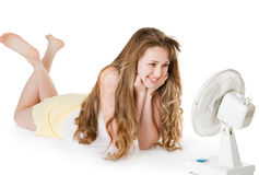 Blonde girl with fan Royalty Free Stock Image