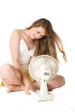 Blonde girl with fan Stock Image