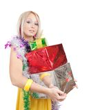 Blonde girl  with few coloured gifts Stock Photography