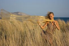 Blonde girl in the field Royalty Free Stock Images