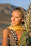 Blonde girl in the field Stock Image
