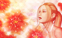 Blonde girl on floral background Royalty Free Stock Photography