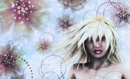Blonde girl on floral background Royalty Free Stock Photo