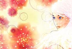 Blonde girl on floral background Stock Photos