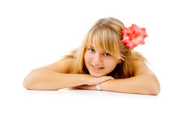 Blonde girl with a flower Royalty Free Stock Images