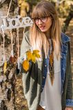 Love the autumn, colors and girl Royalty Free Stock Photos