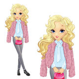 Blonde Girl In Fur And Jeens. Vector illustration of beautiful teenager girl in a pink fur coat and gray jeens stock illustration