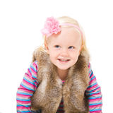 Blonde girl in a fur vest Royalty Free Stock Photography