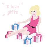 Blonde girl and gift box with text Royalty Free Stock Images