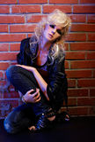 Blonde girl glam rocker Stock Photography