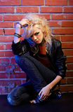 Blonde girl glam rocker Royalty Free Stock Photography
