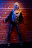 Blonde girl glam rocker Royalty Free Stock Photos