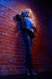 Blonde girl glam rocker Stock Photography