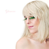 Blonde girl with glamour make-up, close up Stock Photos