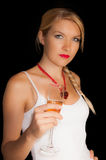 A blonde girl with a glass of champagne  Stock Photo