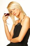 Blonde girl with glass of wine. Close up royalty free stock images
