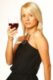 Blonde girl with glass of wine. Close up stock image
