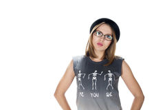 Blonde girl in glasses and hat Stock Photos