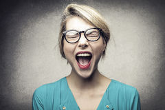 Screaming Blonde Royalty Free Stock Photo