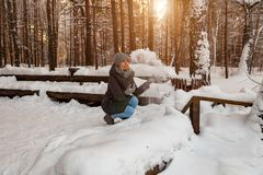 A blonde girl in a gray hat and a dark blue jacket in the winter in the forest is sitting in a snowdrift and throws her snow into stock photo