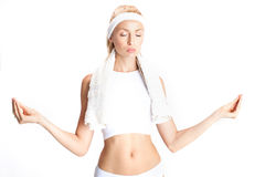 Blonde girl after gym. Stock Images