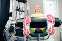 Blonde girl at gym Stock Photography
