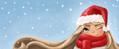 Blonde girl in the hat of Santa Claus Stock Photos