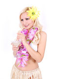 Blonde girl with Hawaiian accessories Royalty Free Stock Photo