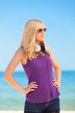 Blonde girl with headphone Royalty Free Stock Photography