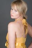blonde girl her looking over shoulder στοκ φωτογραφίες