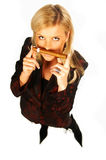 Blonde girl holding cigar Stock Photo