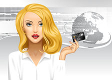 Blonde girl holding a credit card on digital abstract background. With globe. Global business conceptual vector illustration. There is in addition a vector Stock Images