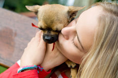 Blonde girl holding pet dog. Pretty blonde girl cuddling up and holding to her cute little pet dog stock photo