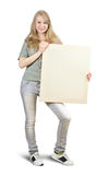 Blonde girl  holds empty poster Stock Photography