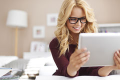 Blonde girl at home Stock Image