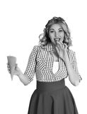 Blonde girl with ice cream. Blonde in a scarf eating an ice cream Royalty Free Stock Photos