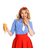 Blonde girl with ice cream Stock Photography
