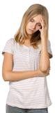 Blonde girl irritated Stock Image