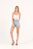 Blonde girl in jeans shorts Stock Photos