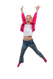 Blonde girl is jumping in the air Stock Image