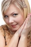 Blonde girl in kerchief Royalty Free Stock Photography