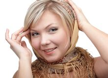 Blonde girl in kerchief Royalty Free Stock Images