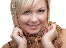 Blonde girl in kerchief Stock Images