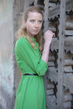 Blonde girl in lace dress in an old fortress Royalty Free Stock Images