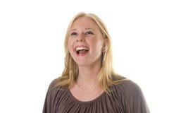 Blonde girl laughing royalty free stock photos