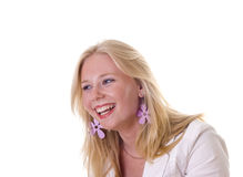 Blonde girl laughing out loud Stock Photo