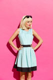 Blonde girl in light blue dress Royalty Free Stock Images