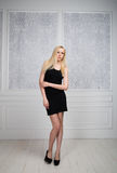 Blonde girl in a little black dress Royalty Free Stock Photo